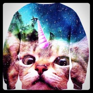 Sweaters - Crew neck galaxy unicorn cat